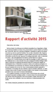 Page de garde rapport d'activités 2015