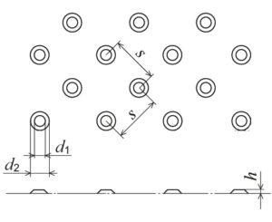 plan et coupe d'un élément avec plots podotactiles