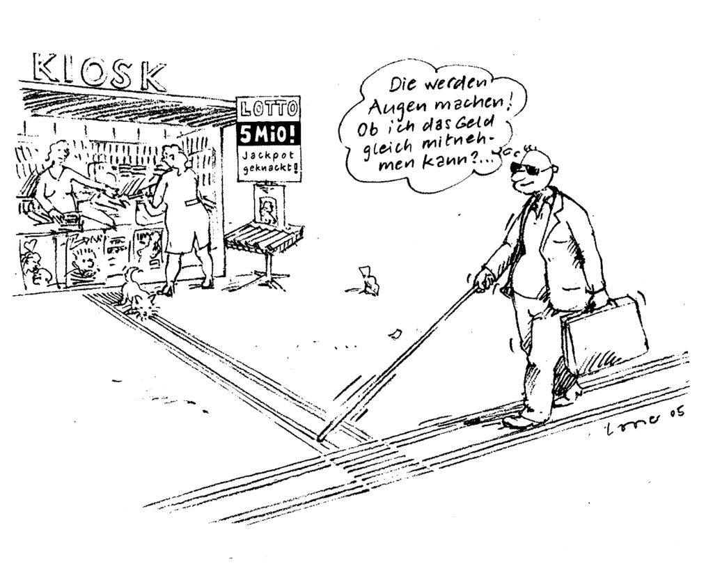 Comic: blinder Lottogewinner nähert sich auf der Leitlinie dem Kiosk um seinen Gewinn abzuholen
