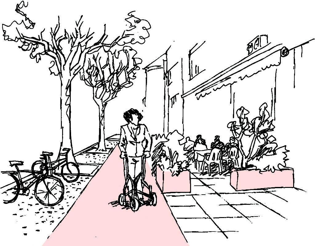 Gliederung der Gehfläche, Veloparkplätze, Bäume - freier Gehbereich - Gartenrestaurant