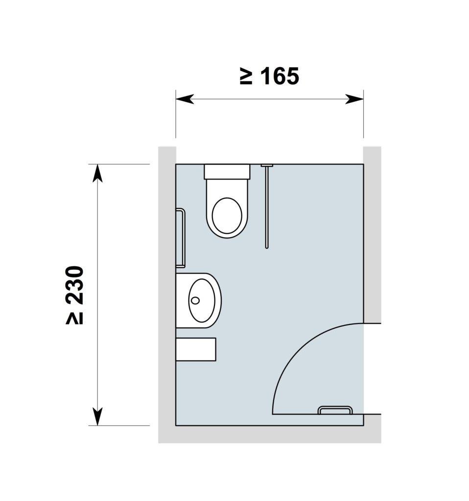 WC mit Türe nach Innen öffnend