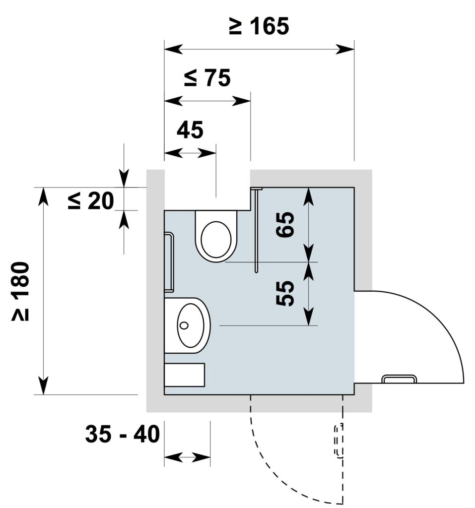 planung rollstuhlgerechter toiletten hindernisfreie architektur. Black Bedroom Furniture Sets. Home Design Ideas