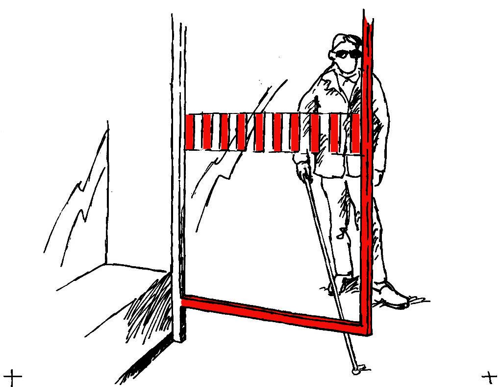 Markierung einer Glaswand mit vertikalen Streifen