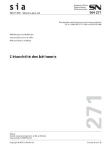 Norme SIA 271 Etanchéité des bâtiments, page de titre