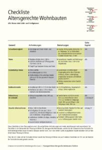 Richtlinien Altersgerechte Wohnbauten, Checkliste, Titelblatt